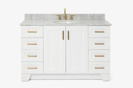 Ariel taylor 55 in. single oval sink vanity with carrara white marble countertop in white