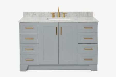 Ariel taylor 55 in. single rectangle sink vanity with carrara white marble countertop in grey