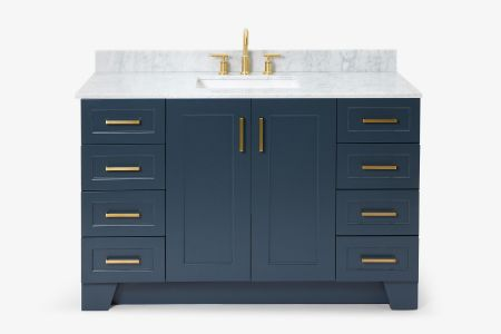 Ariel taylor 55 in. single rectangle sink vanity with carrara white marble countertop in midnight blue