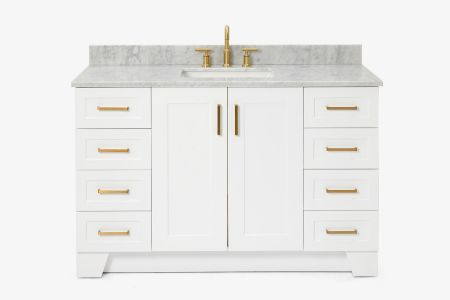 Ariel taylor 55 in. single rectangle sink vanity with carrara white marble countertop in white
