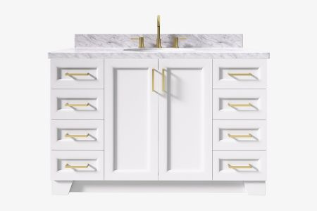 Ariel taylor 55 in. oval sink vanity with carrara white marble -white quartz countertop
