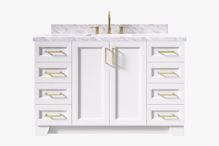 Ariel taylor 55 in. rectangle sink vanity with carrara white marble - white quartz countertop