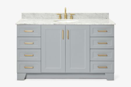 Ariel taylor 61 in. single oval sink vanity with carrara white marble countertop in grey