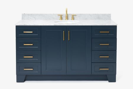 Ariel taylor 61 in. single oval sink vanity with carrara white marble countertop in midnight blue
