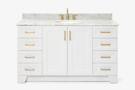 Ariel taylor 61 in. single oval sink vanity with carrara white marble countertop in white