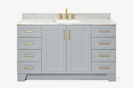 Ariel taylor 61 in. single rectangle sink vanity with carrara white marble countertop in grey