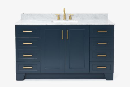 Ariel taylor 61 in. single rectangle sink vanity with carrara white marble countertop in midnight blue