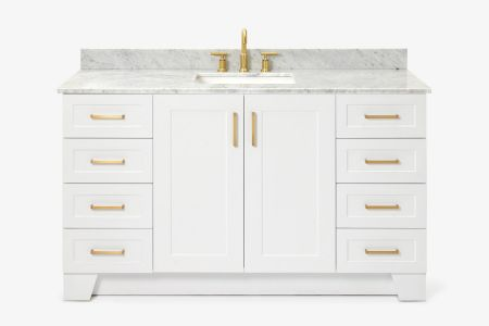 Ariel taylor 61 in. single rectangle sink vanity with carrara white marble countertop in white