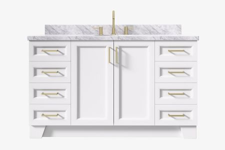 Ariel taylor 61 in. oval sink vanity with carrara white marble - white quartz countertop