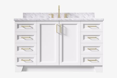 Ariel taylor 61 in. rectangle sink vanity with carrara white marble -white quartz countertop