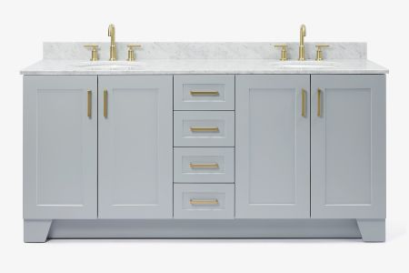 Ariel taylor 73 in. double oval sink vanity with carrara white marble countertop in grey