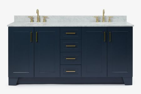 Ariel taylor 73 in. double oval sink vanity with carrara white marble countertop in midnight blue