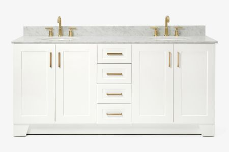 Ariel taylor 73 in. double oval sink vanity with carrara white marble countertop in white