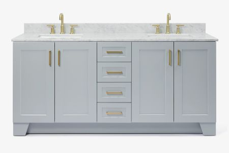 Ariel taylor 73 in. double rectangle sink vanity with carrara white marble countertop in grey