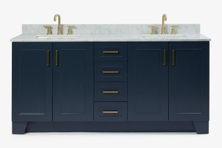 Ariel taylor 73 in. double rectangle sink vanity with carrara white marble countertop in midnight blue
