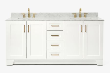 Ariel taylor 73 in. double rectangle sink vanity with carrara white marble countertop in white