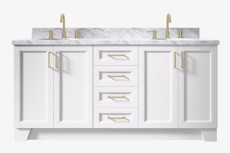 Ariel taylor 73 in. double oval sink vanity with carrara white marble or white quartz countertop
