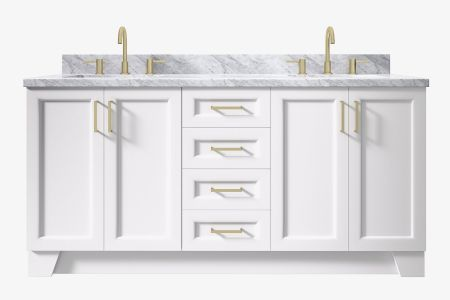 Ariel taylor 73 in. double rectangle sink vanity with carrara white marble or white quartz countertop