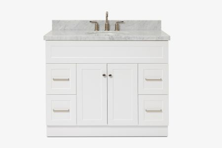 Ariel hamlet 43 in. oval sink vanity with carrara white countertop in white