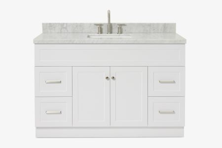 Ariel hamlet 55 in. rectangle sink vanity with carrara white countertop in white