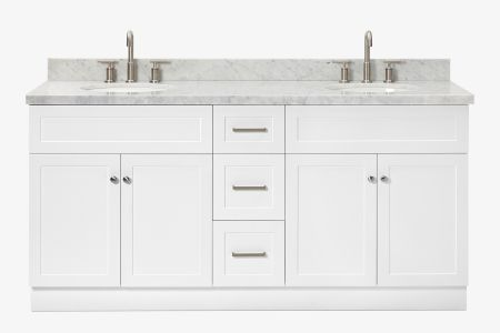 Ariel hamlet 73 in. double oval sink vanity with carrara white countertop in white