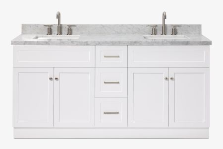 Ariel hamlet 73 in. double rectangle sink vanity with carrara white countertop in white