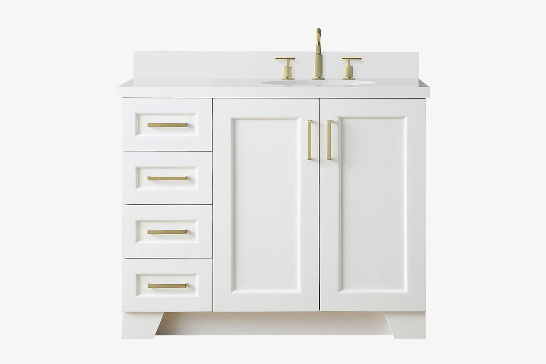Ariel Taylor 43 Inch Bathroom Vanity In White With White Quartz Countertop With Right Offset Oval Sink Bathroom Vanities Bathroom Sink Vanities Accessories Emosens Fr