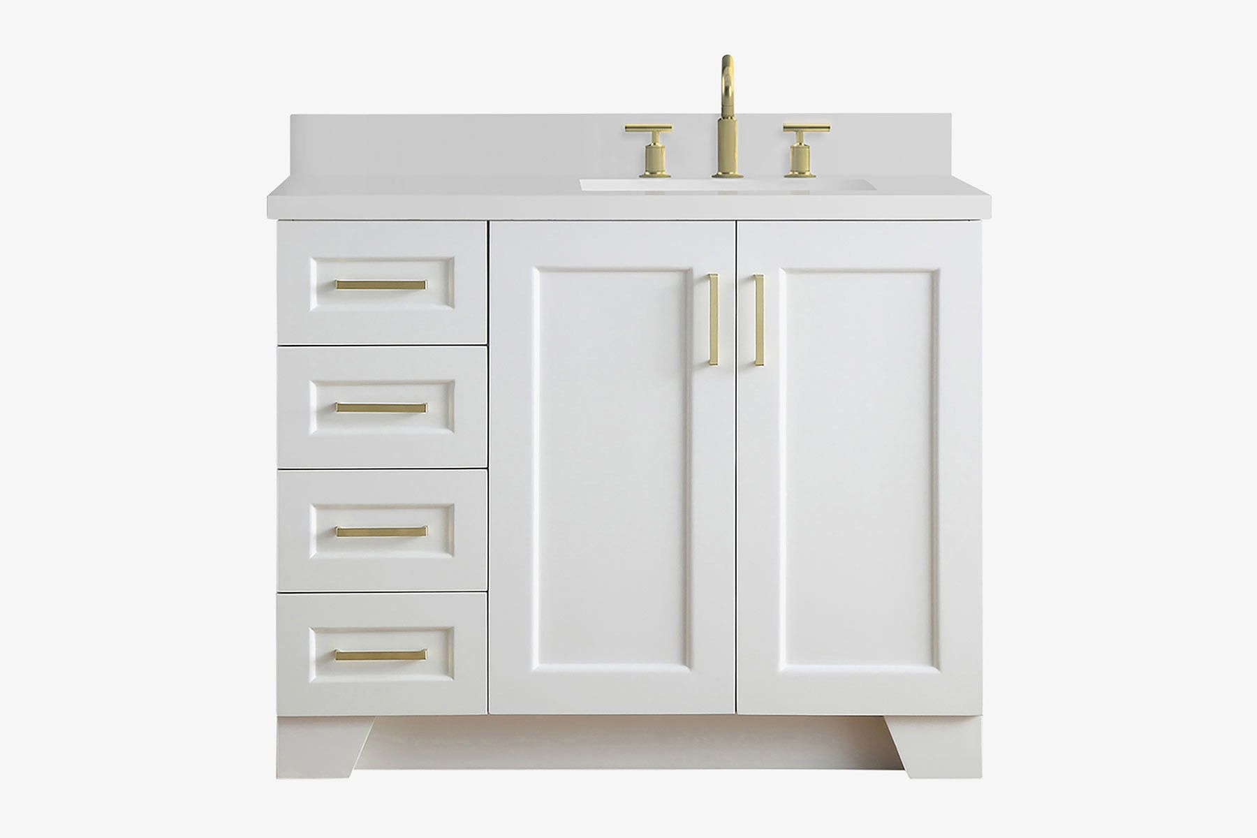 Ariel Taylor 43 In Right Offset Single Rectangle Sink Vanity In White