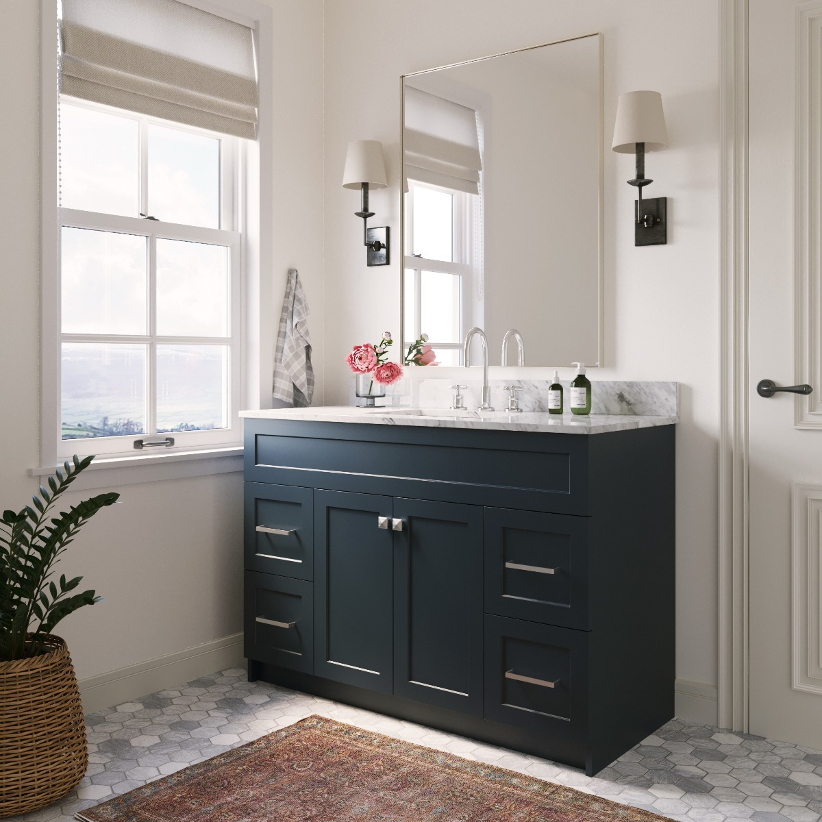 Ariel Taylor 61 In. Oval Sink Vanity With Carrara White Marble Countertop In Midnight Blue