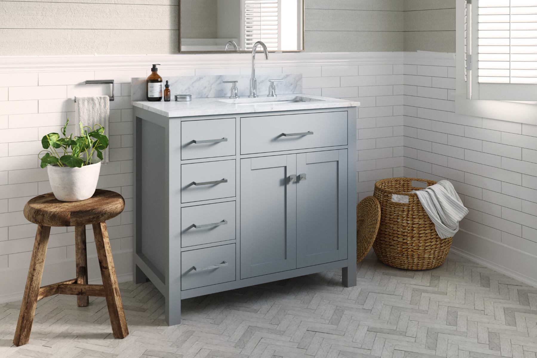 Belmont Decor Hampton 36 In. Left Offset Single Sink Base Cabinet In White With Matching Framed Mirror